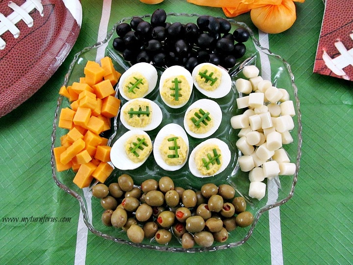 Football deviled eggs, football themed party