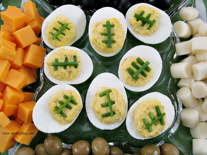 how to make deviled eggs look like footballs my turn for us