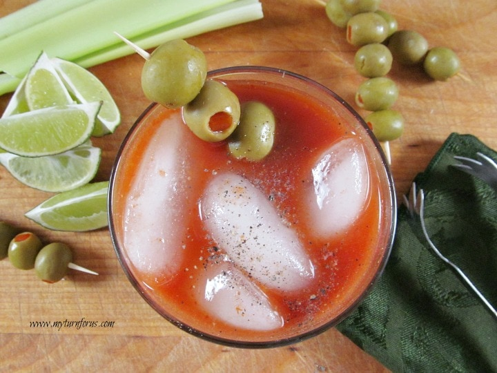 spicy bloody mary, pepper infused vodka