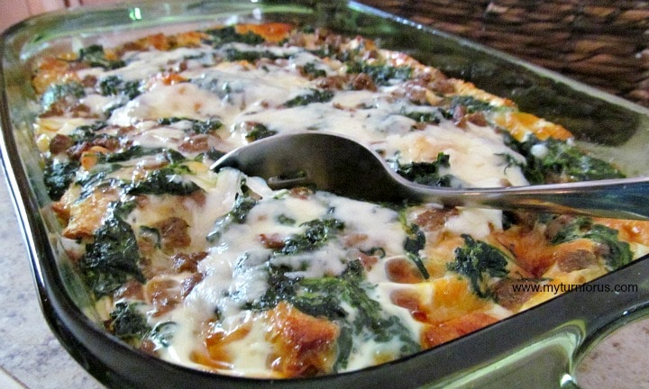 Overnight Breakfast Casserole with Sausage, cheese and spinach