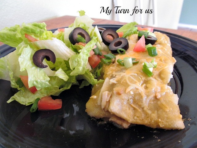 Low Calorie Green Enchiladas with Chicken