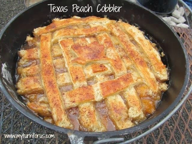 Texas Dutch Oven Peach Cobbler