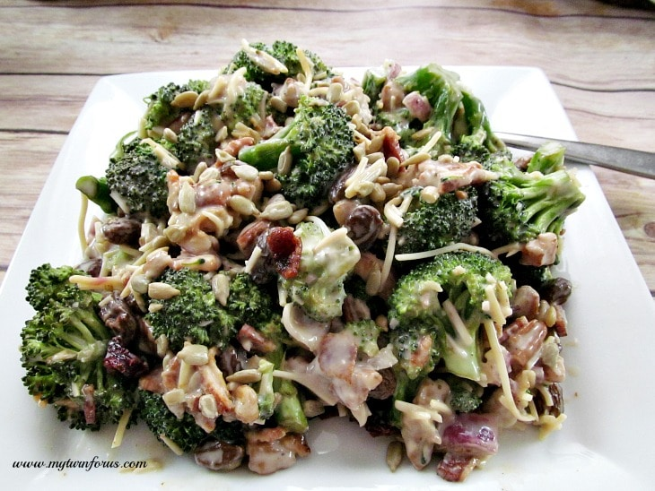 Broccoli Salad with red onion, bacon, sunflower seeds, Craisins, cheese and coleslaw dressing, broccoli crunch salad