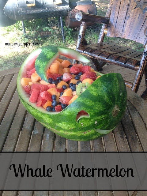 Mixed fruit in a whale shaped watermelon