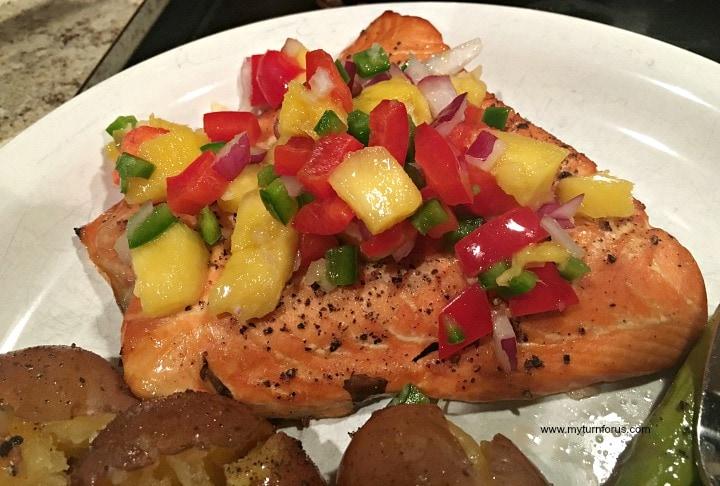 smoked salmon and mango salsa