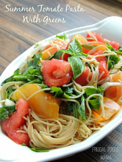 summer tomato pasta with basil