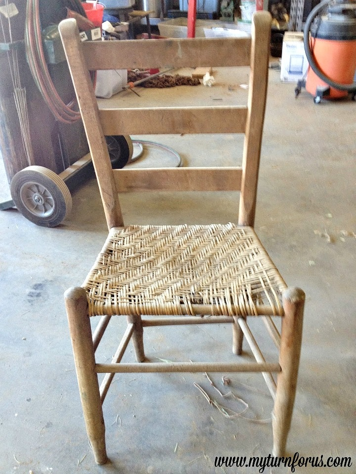 weaving a hemp seat on a chair