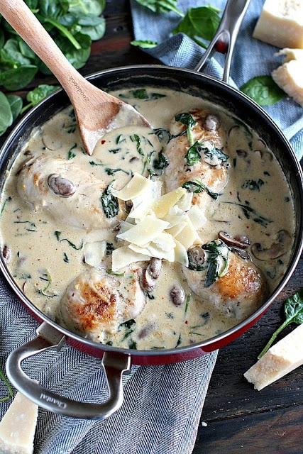 Creamy chicken dinner for two