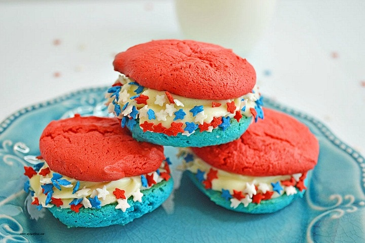 Easy Patriotic Cookies from a cake mix