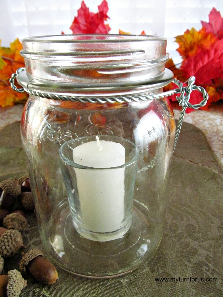 hanging mason jar, lighted mason jar, Fall Mason Jar Decor