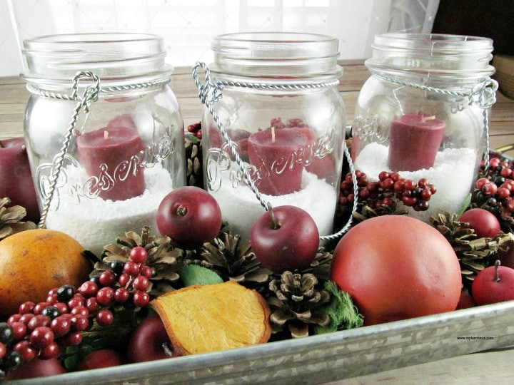 How To Make Easy Mason Jar Christmas Centerpieces My Turn For Us