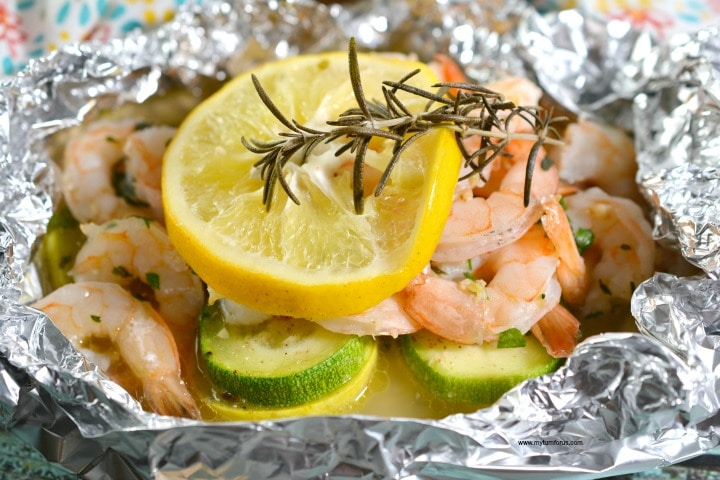 Shrimp Scampi in a Foil Packet meal