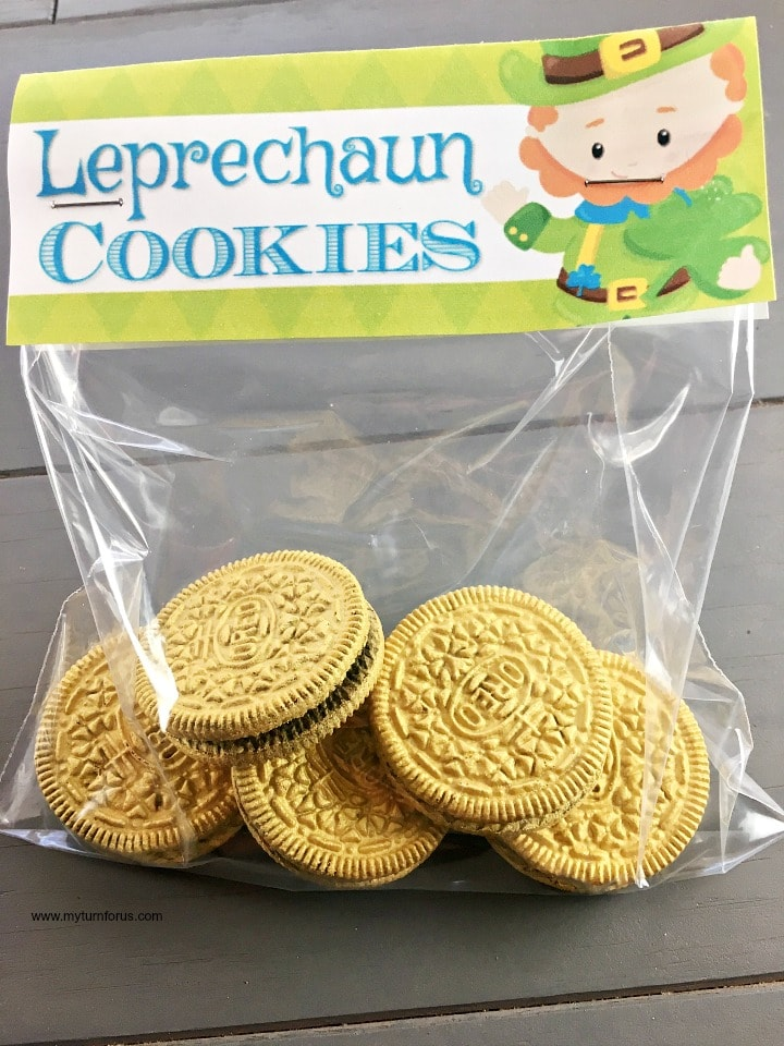 Leprechaun cookies, free printable treat bag toppers, St Patrick's Day Cookies, cookie bags, St Patrick's Day Snacks