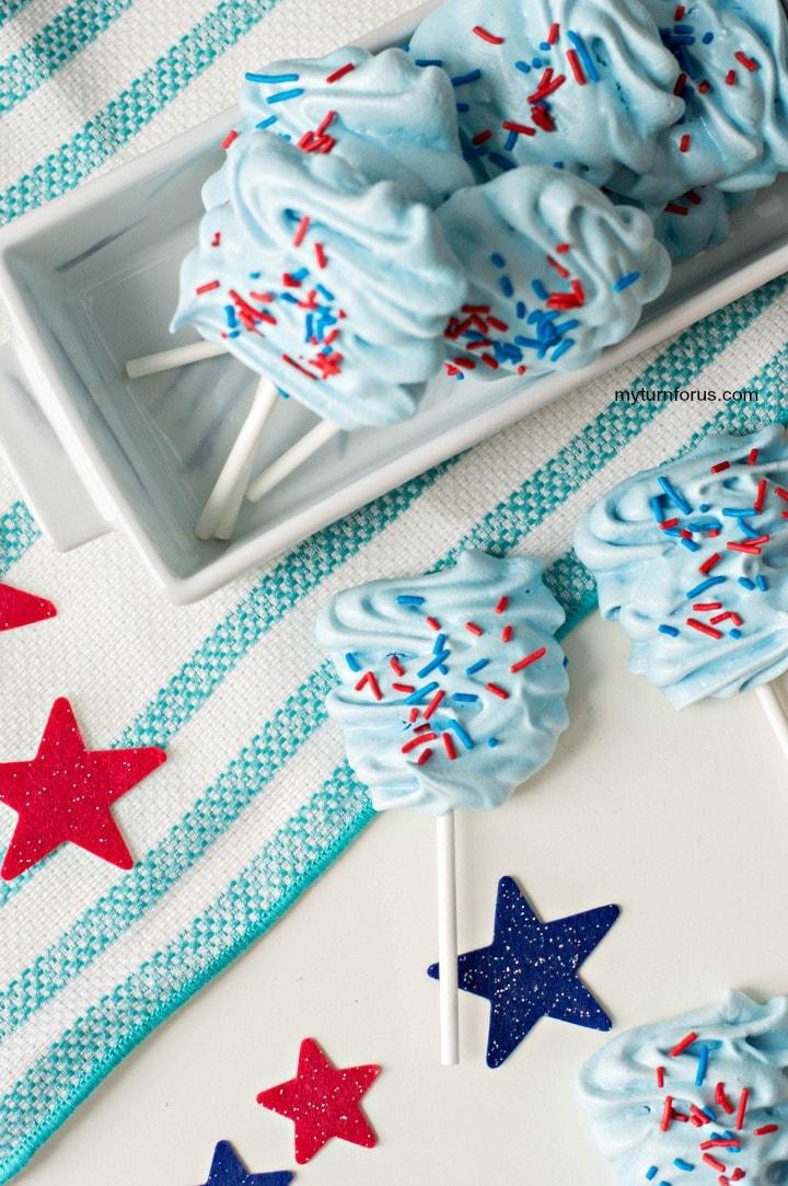 meringue lollipops, patriotic pops