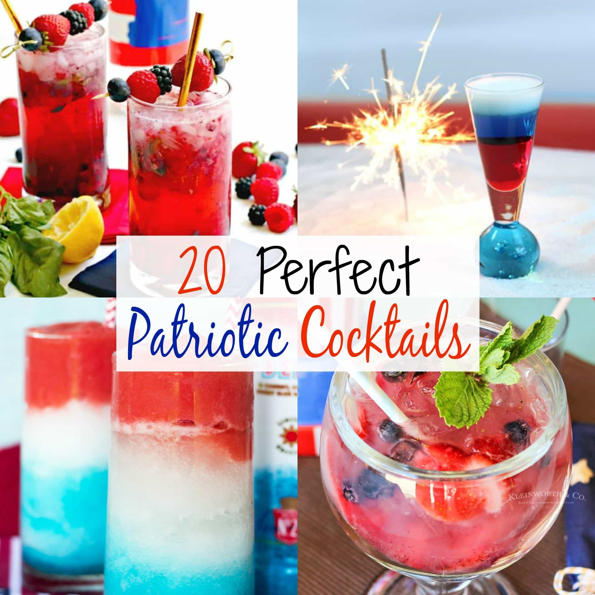 patriotic cocktails, red White and Blue