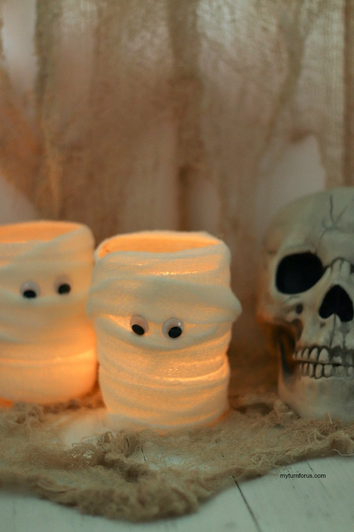 mummy candles, mummy candleholders, Halloween luminaries