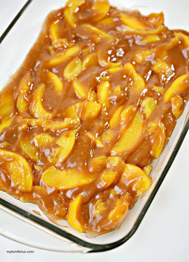 peach pie french toast casserole, peach toast