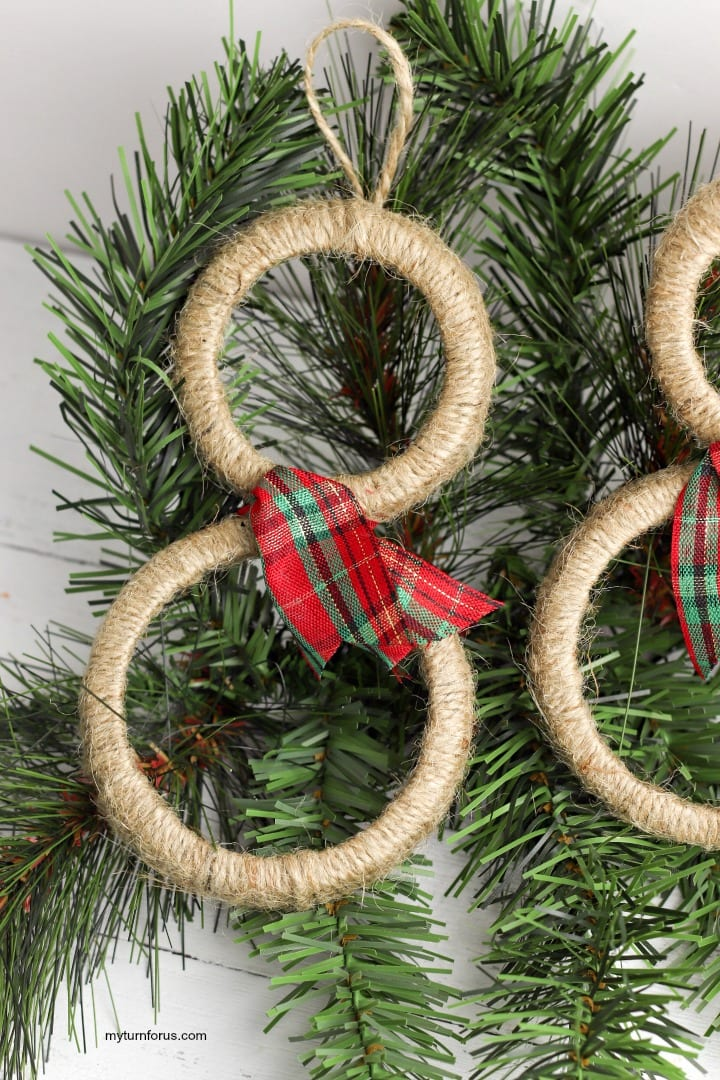 Country Christmas ornament, mason jar rings
