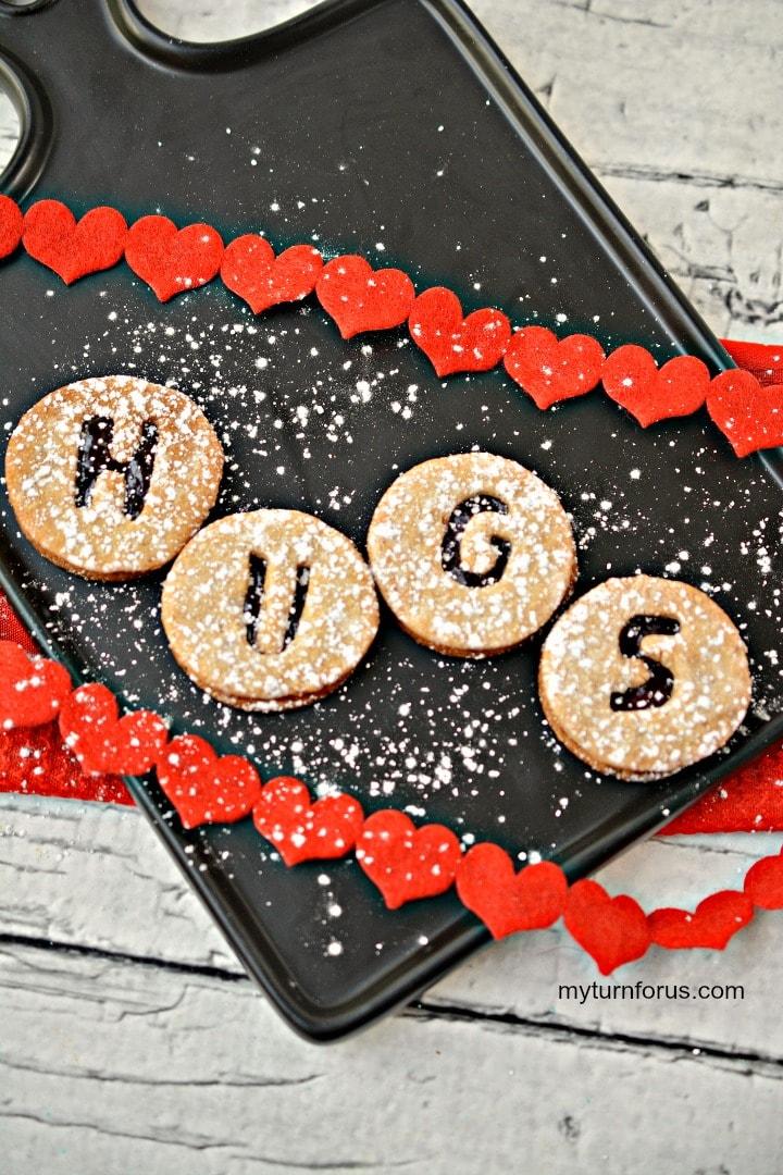 Linzer valentine cookies, cherry jam cookies