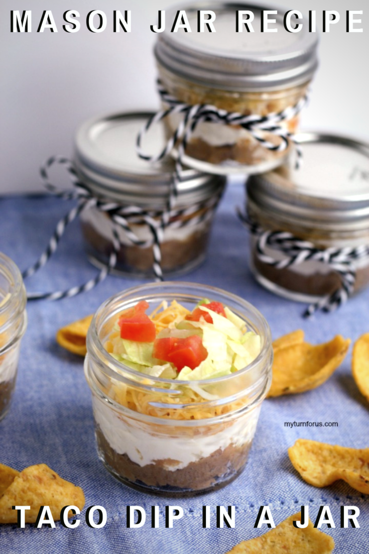 Make an easy 5 layer taco dip in a jar using 8 oz mason jelly jars. This individual dip in a jar is made with beans, cream cheese/sour cream and topped with salsa, lettuce, and tomatoes.