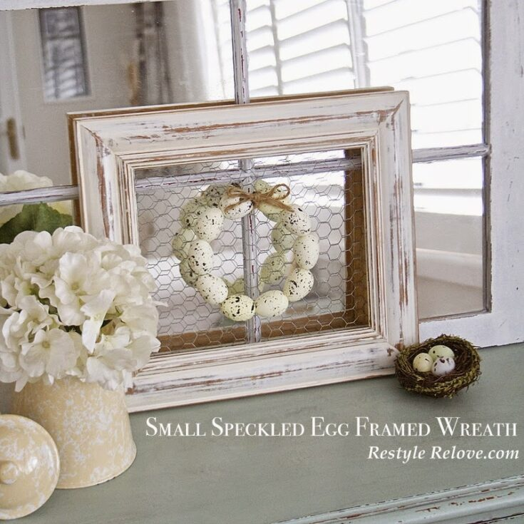 Small Speckled Egg Framed Wreath