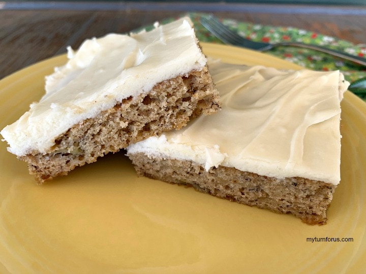 banana bars with cream cheese frosting recipe, banana squares