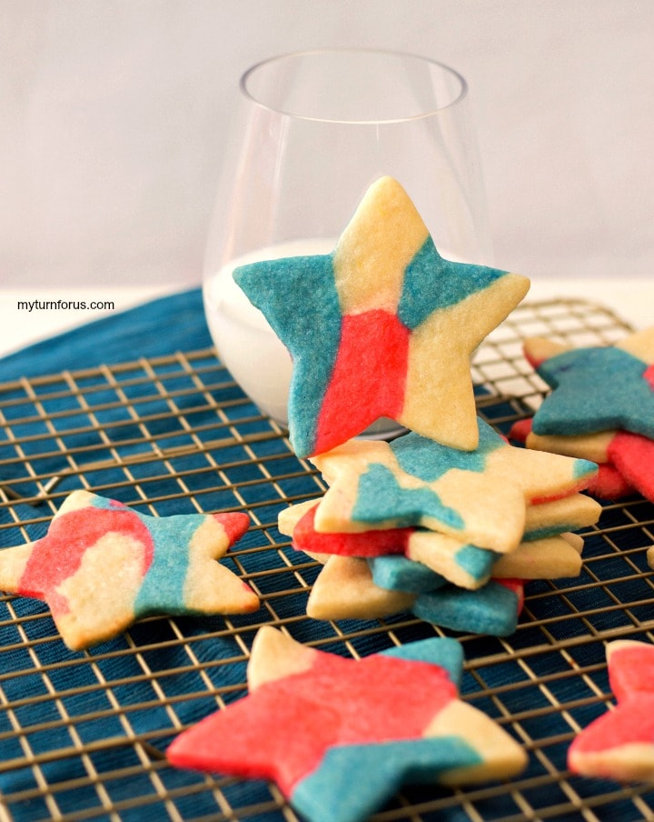 patriotic sugar cookies, red white and blue star cookies