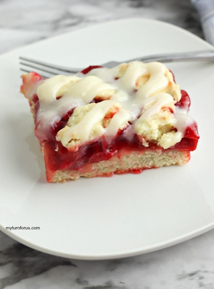 cherry squares, cream cheese glaze