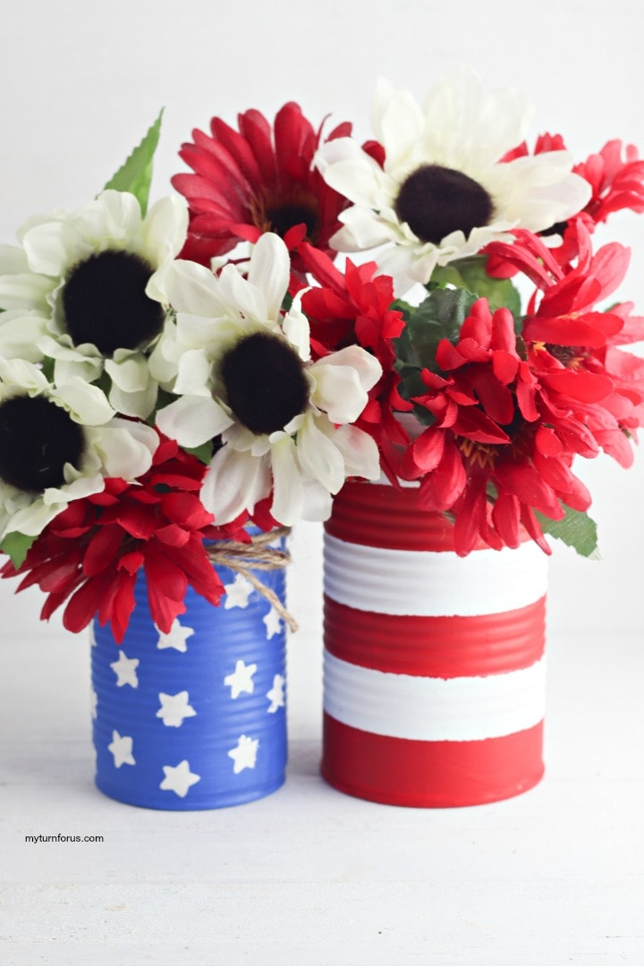 Painted cans patriotic centerpieces