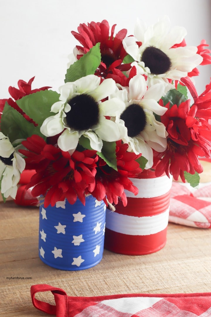 painted can patriotic centerpiece, painted can patriotic centerpiece