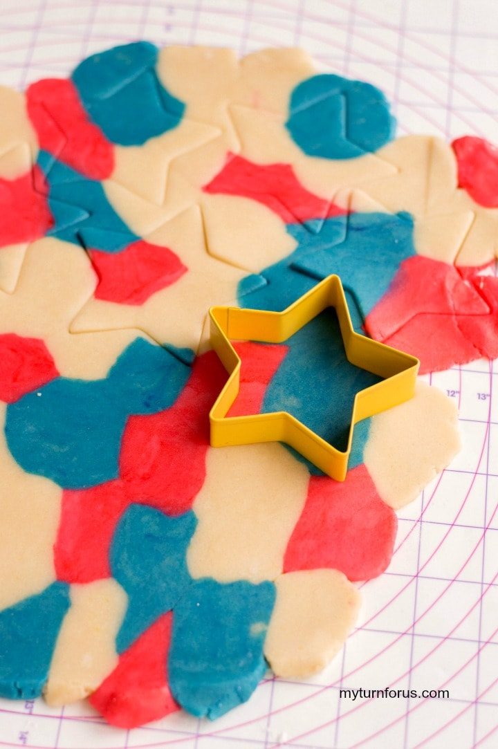 Red white and blue star cookie dough, star cookies