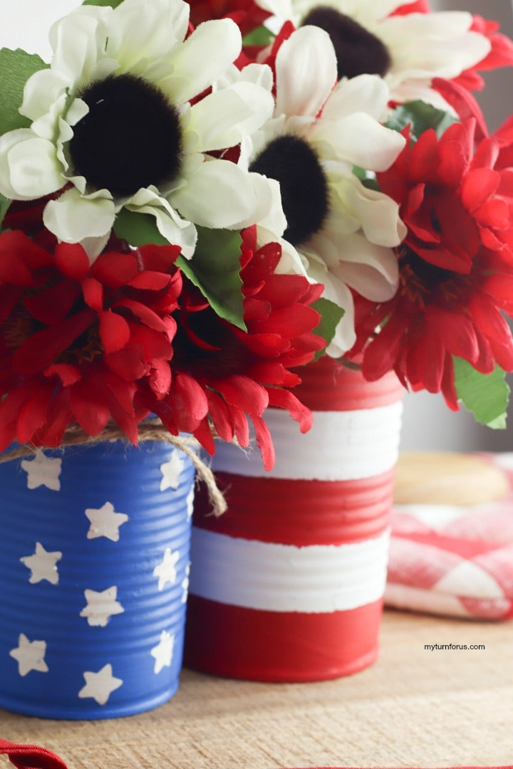 red white and blue centerpiece, red white and blue centerpiece from recycled cans