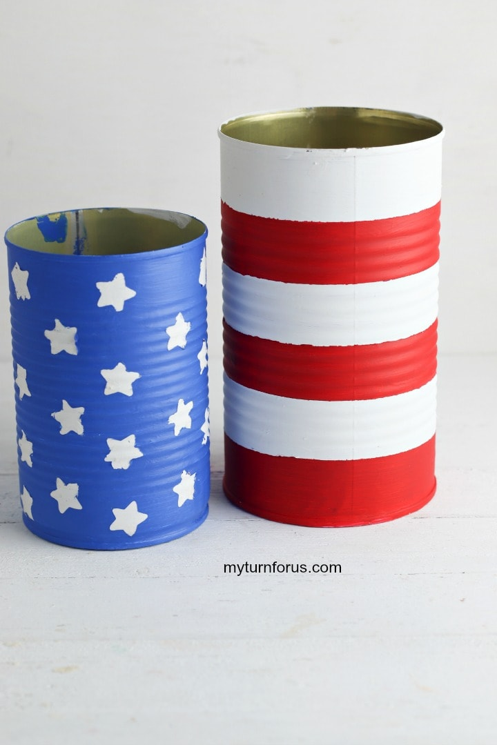 red white and blue centerpiece, painted cans for red white and blue centerpiece