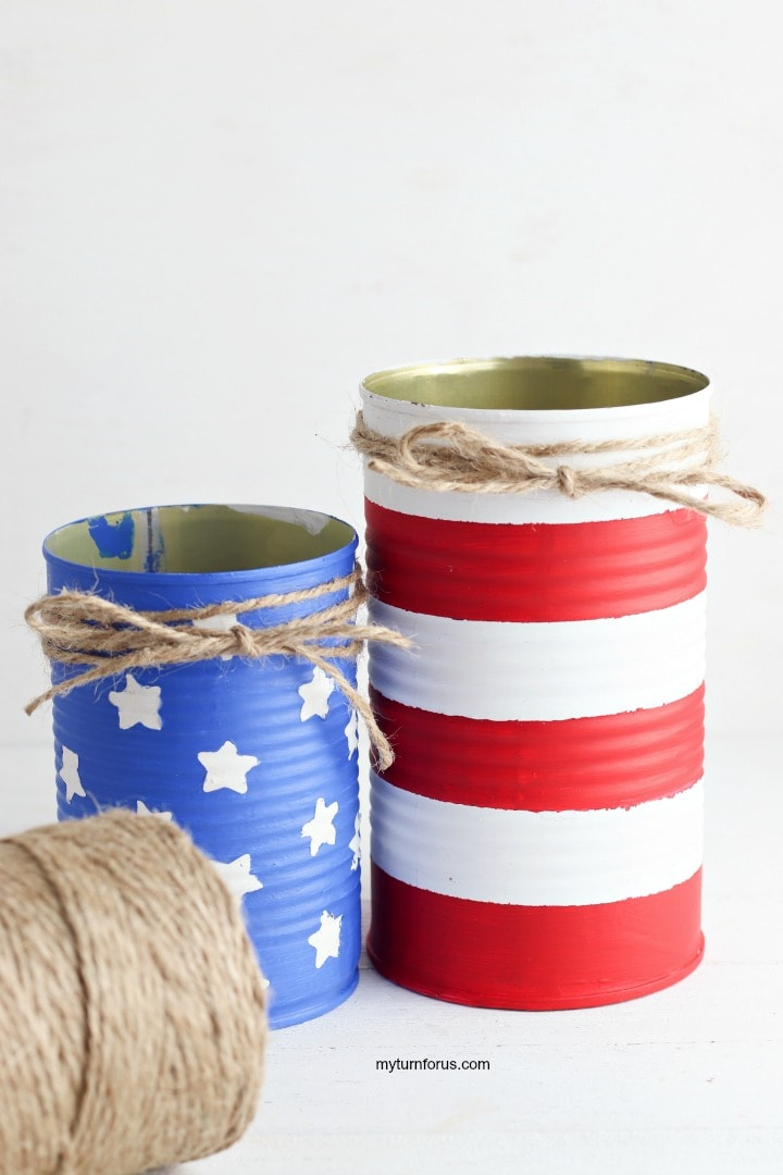 Painted cans, patriotic centerpiece, Tie a bow around the top of each painted can with twine