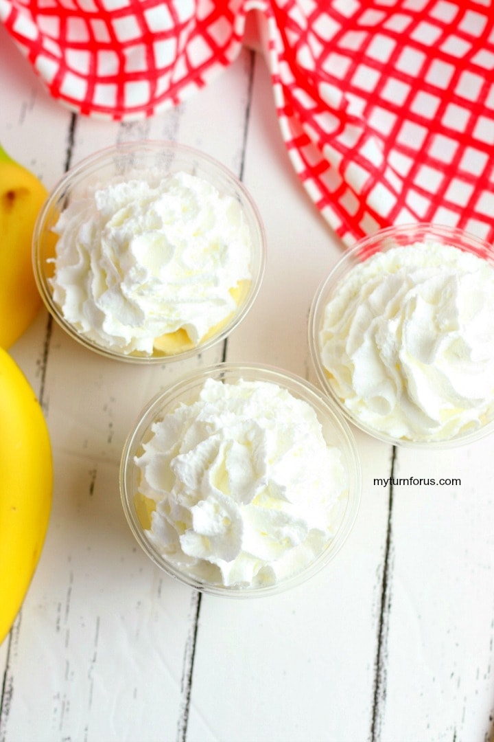 whipped topping on pudding cups