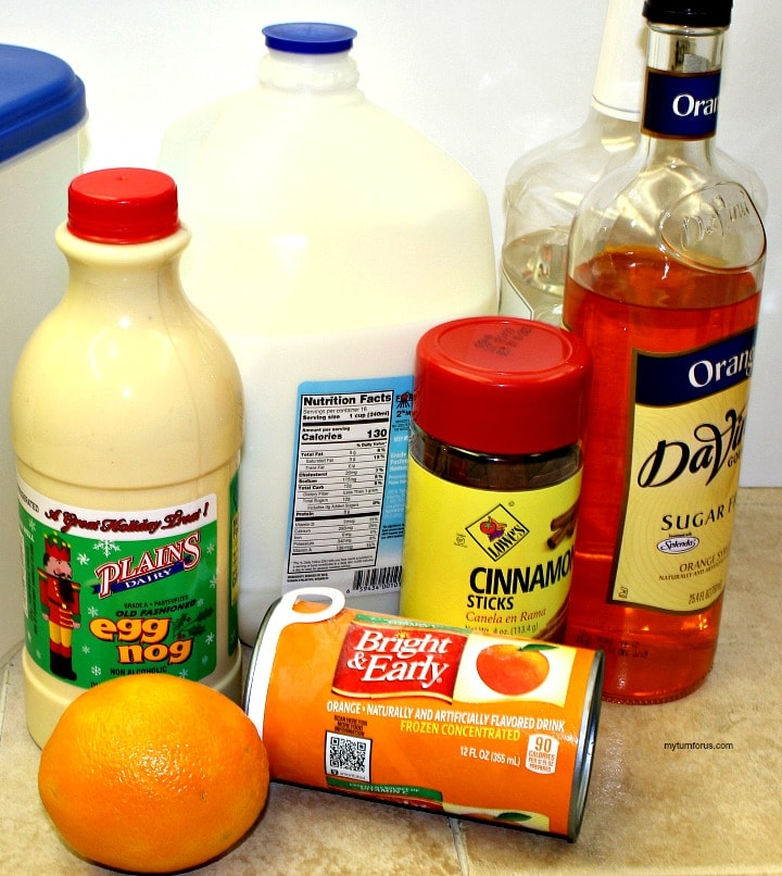 Ingredients for this Orange Spiced Christmas Eggnog