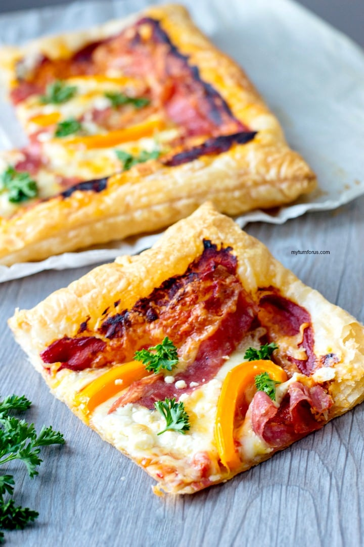 Puff Pastry Pizza, with salami, feta cheese and bell peppers
