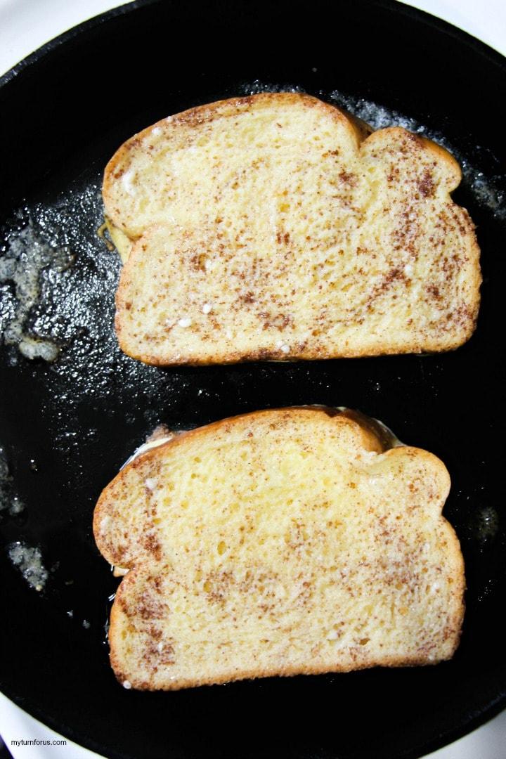 battered cinnamon toast in skillet