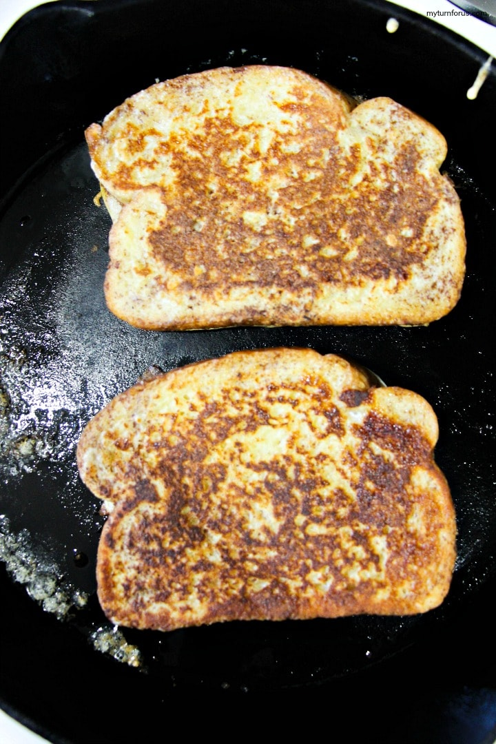 cooked french toast in skillet