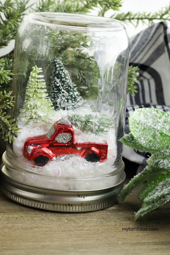 Red Truck Snow Globe in a mason jar