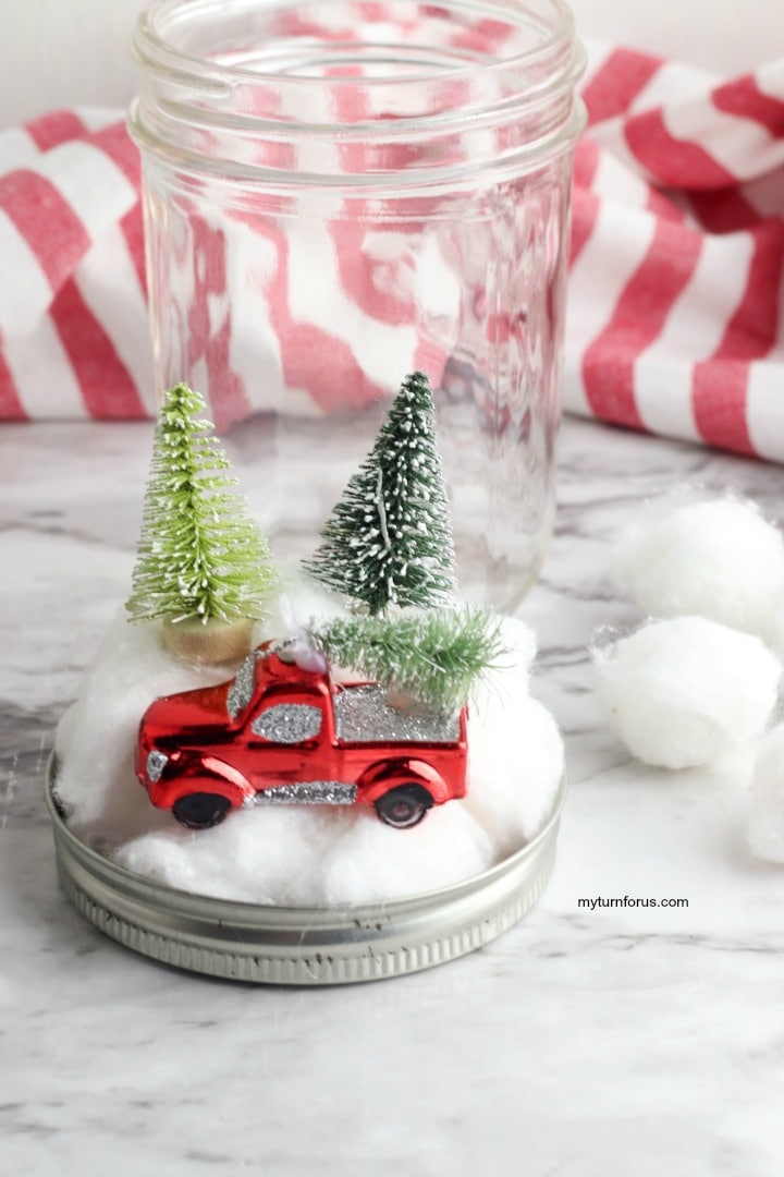 ornament and trees on cotton balls