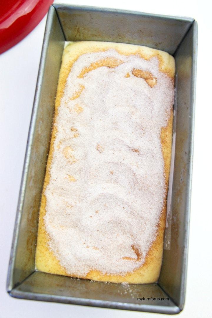 Cinnamon Swirl ingredients on eggnog loaf
