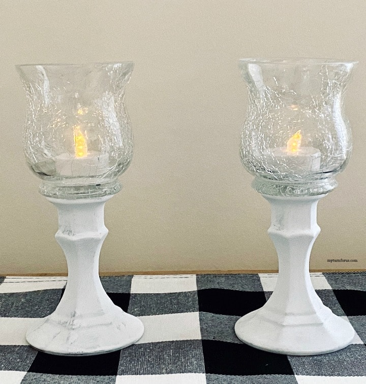 crackle glass candle holder set of two elegant candle holders