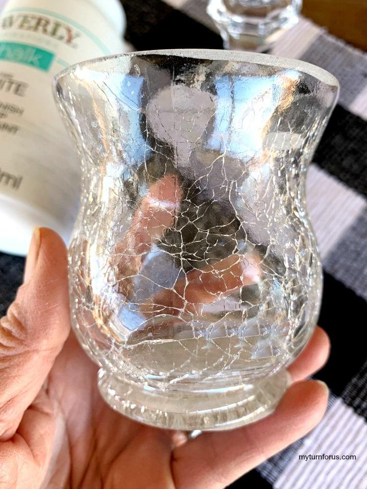 crackle glass candle holder to make dollar tree pedestal candle holder