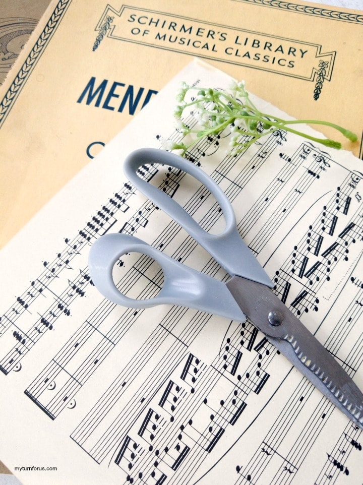sheet music and scissors