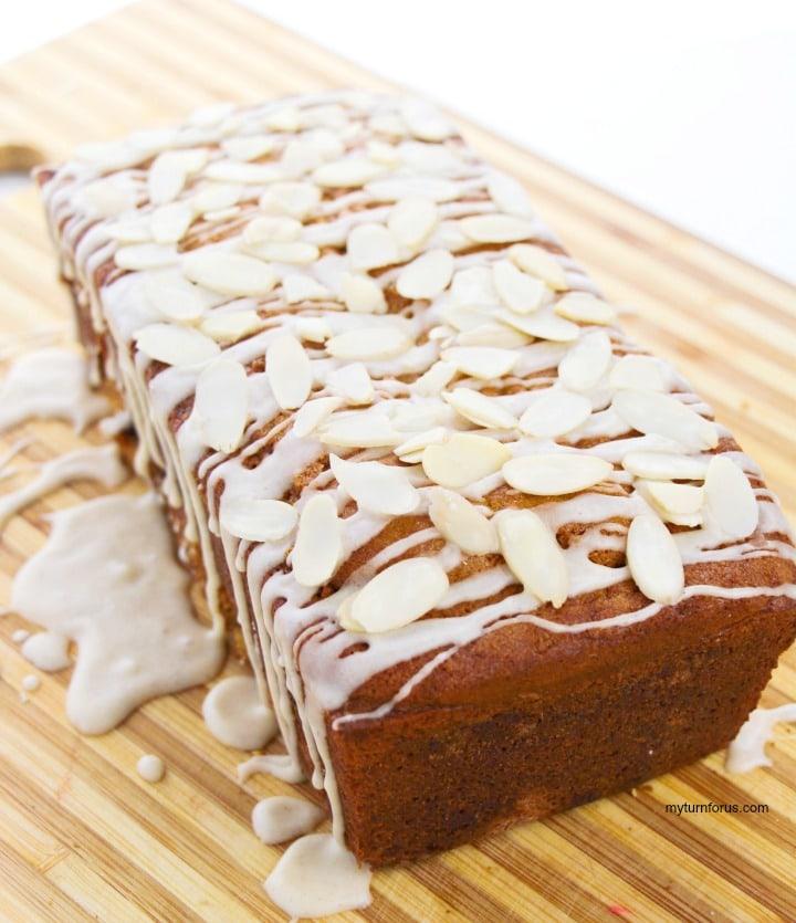 cinnamon swirl eggnog bread with rum glaze and almonds