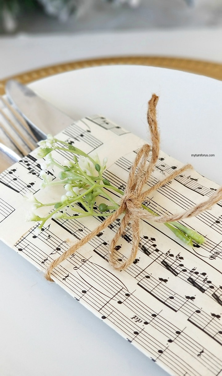 diy sheet music place setting