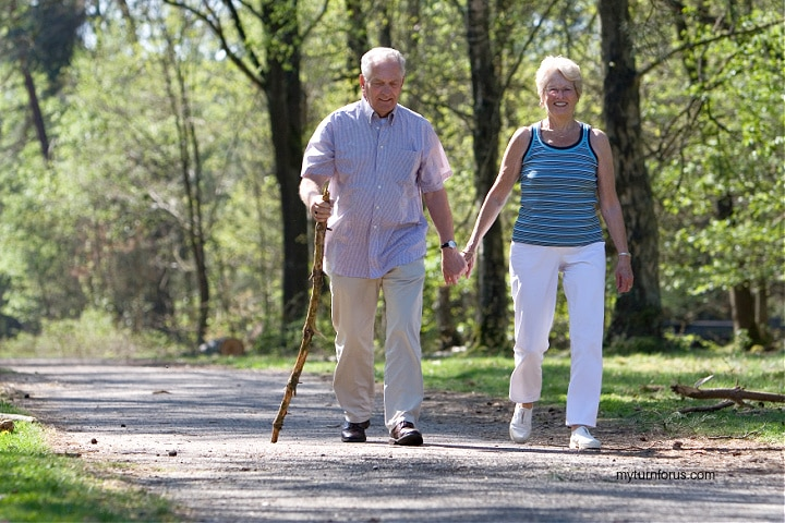 two people walking a mile a day