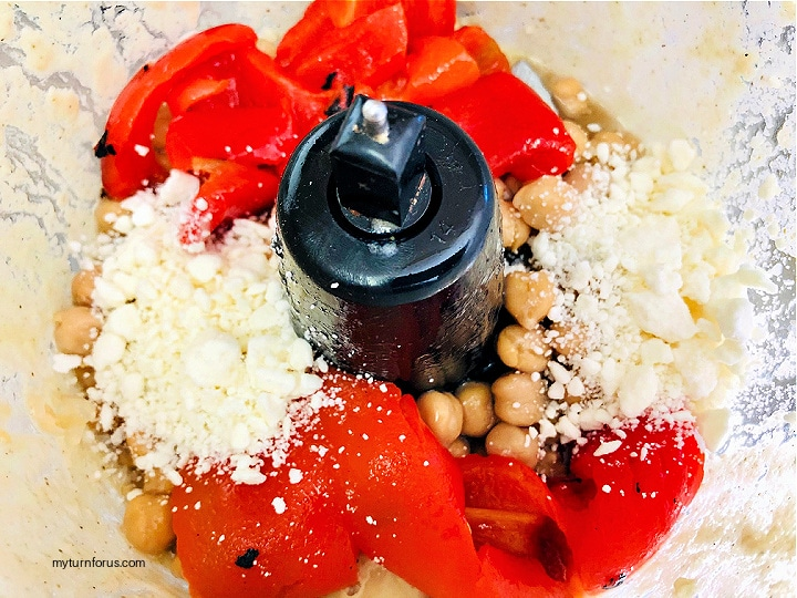 dip made from chickpeas and Roasted red peppers and feta in food processor