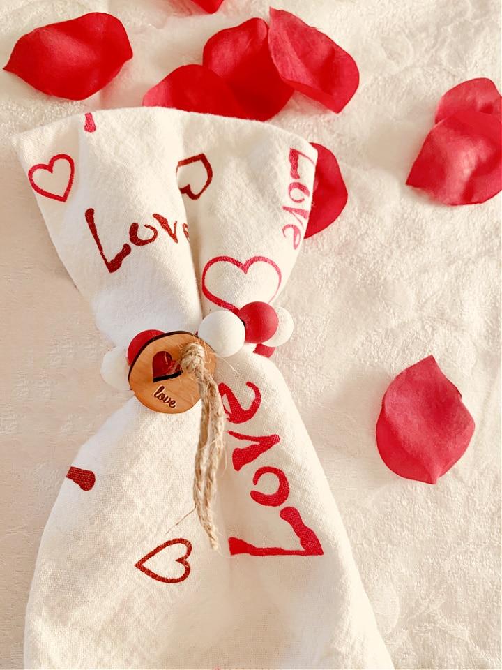 DIY Valentine Wood Bead Napkin Rings
